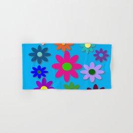 Flower Power - Blue Background - Fun Flowers - 60's Hippie Style Hand & Bath Towel