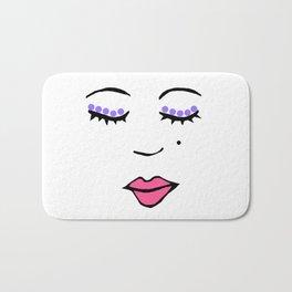 Style Girl - Face - Doodle Art - Pink Bath Mat