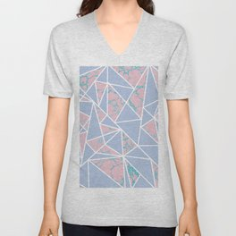 Geometric pastel blue coral abstract triangles marble Unisex V-Neck