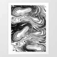 Furoshi - black and white minimal spilled ink abstract painting marble swirl ocean water marbled Art Print