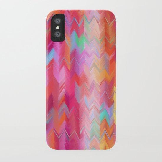 Colorful painted chevron pattern - pink, purple, yellow, orange iPhone Case