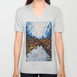 City of Reflections, NYC art, abstract city, city scape, colorful city Unisex V-Neck