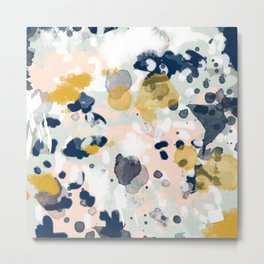 Esther - abstract minimal gold navy painting home decor minimalist hipster art Metal Print