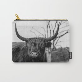 Wild highland cow   Black and white   Nature photography  Carry-All Pouch