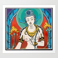 buddhism Art Prints featuring Buddhism by Panda Cool