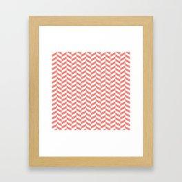 Coral Pink Herringbone Pattern Framed Art Print