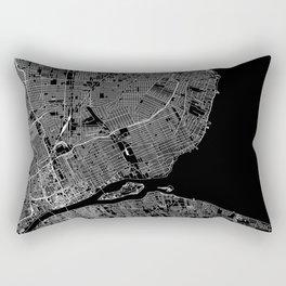 Detroit Black Map Rectangular Pillow