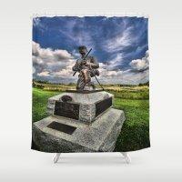 battlefield Shower Curtains featuring Marksman by gymmybob