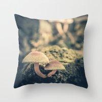 mushrooms Throw Pillows featuring mushrooms by Koka Koala