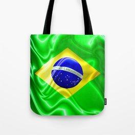 Brazil Flag Waving Silk Fabric Tote Bag
