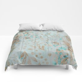 Pastel Botanical Watercolor Pattern Teal Gold Glitter Comforters