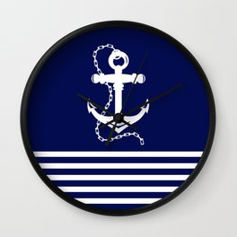 AFE Navy & White Anchor and Chain Wall Clock