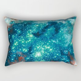 Teal Brown Glitter Sparkle Stars Rectangular Pillow