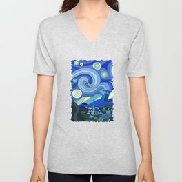 Tardis Art Starry Night Unisex V-Neck