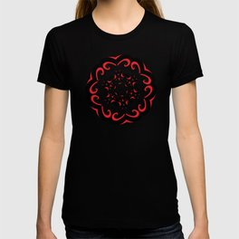 Floral Black and Red Round Ornament T-shirt