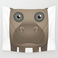 hippo Wall Tapestries featuring Hippo Icon by JunkyDotCom