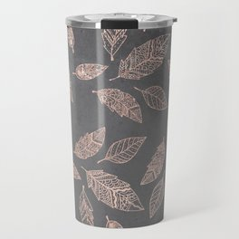 Rose gold hand drawn boho feathers hand drawn grey industrial concrete cement Travel Mug