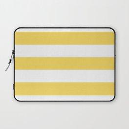 Stil de grain yellow - solid color - white stripes pattern Laptop Sleeve