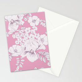 Rose hips, irises and phlox in pink background Stationery Cards