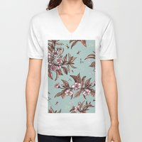 vintage floral V-neck T-shirts featuring Vintage Floral by Guildown