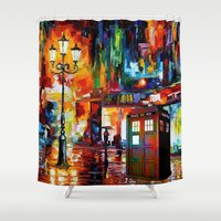 thorin Shower Curtains featuring Tardis Painting by Thorin