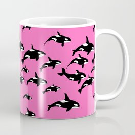 Killer Whales Orca Pod on Hot Pink Pattern Coffee Mug