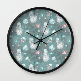 Moon landing blue Wall Clock