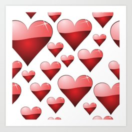 Sparkling Shiny Hearts, Seamless Art Print