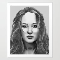 jennifer lawrence Art Prints featuring Jennifer Lawrence by OliverThor