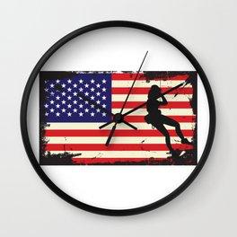 Usa American Flag Rock Climbing - Mountain Climbing Wall Clock