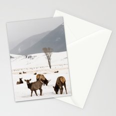 Herd of Elk in Wyoming on a Snowy Winter Day Stationery Cards