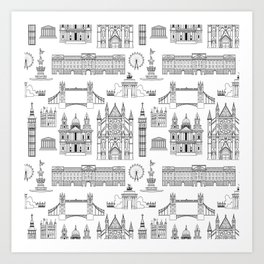 London Places Pattern b/w Art Print