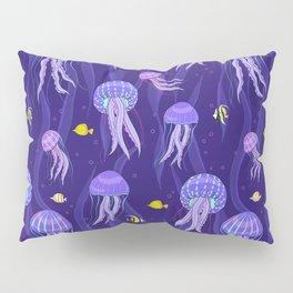 Sea jellyfish on dark purple background. Pillow Sham