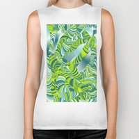 lime green Biker Tanks featuring lime worm by Healinglove art products