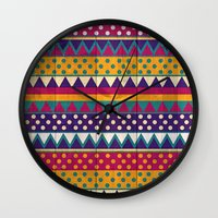 mexican Wall Clocks featuring Mexican Pattern by Eleaxart