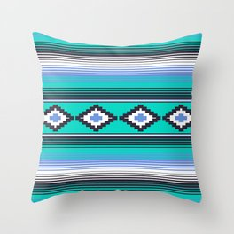 Modern Mexican Serape in Teal Throw Pillow