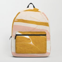Abstract Blush Pink and Gold Marble Backpack