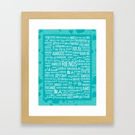 """The word """"Friends"""" in different languages of the world on a turquoise background with hearts Framed Art Print"""
