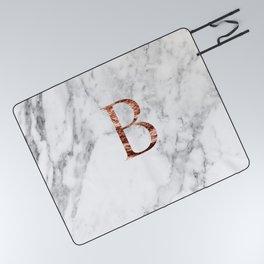 Monogram rose gold marble B Picnic Blanket