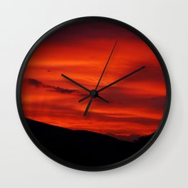 Red Sky Black Hills Sunset Landscape Wall Clock