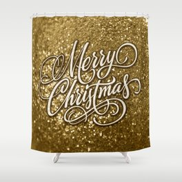 Glitter Gold Xmas Shower Curtain