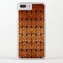 Brown Weave Mat Clear iPhone Case