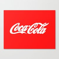 coca cola Canvas Prints featuring Coca-Cola by Rebekhaart