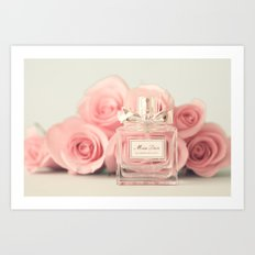 Fashion art, perfume and roses Art Print