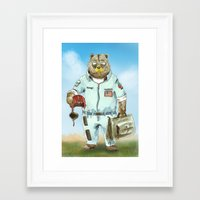 top gun Framed Art Prints featuring Top Gun Bear by Mat Art