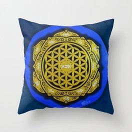 MANDALA FLOWER OF LIFE (BLUE)  Throw Pillow