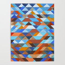 Triangle Pattern no.18 blue and orange Poster