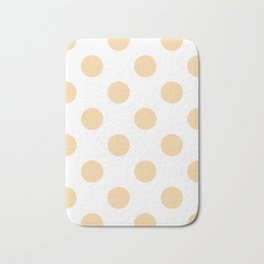 Large Polka Dots - Sunset Orange on White Bath Mat