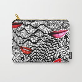 Lips Collage Black White Doodle Art Carry-All Pouch