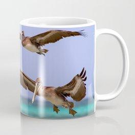 Brown pelicans in flight Coffee Mug